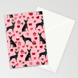 Miniature Doberman Pinscher valentines day cupcakes hearts pure breed dog gifts Stationery Cards