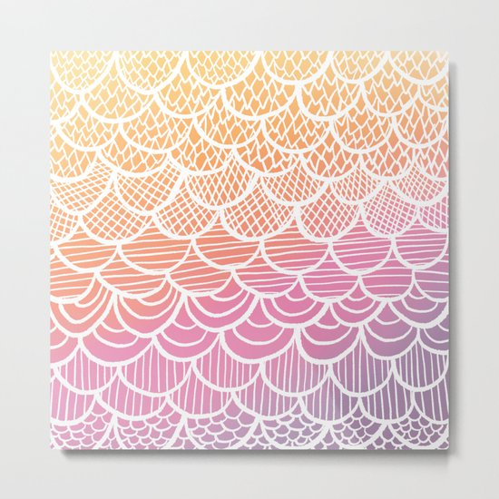 Modern hand drawn summer geometric mermaid scallop pink orange ombre watercolor Metal Print
