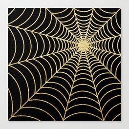 Spiderweb | Gold Glitter Canvas Print