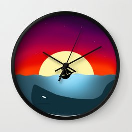 Sailboat in Sunset Wall Clock