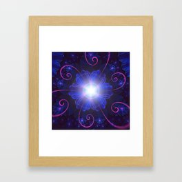Beautiful Ultra Violet Fractal Nightshade Flower Framed Art Print