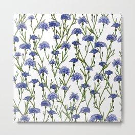 Watercolor Blue Cornflowers Floral Pattern Metal Print