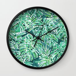 JUNGLE VIBES Green Monstera Watercolor Print Wall Clock