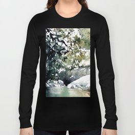 Running water down below in the dark, frozen forest Long Sleeve T-shirt