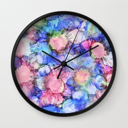 Alcohol Ink Flower Pattern Wall Clock