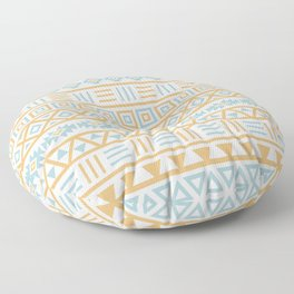 Aztec Influence Pattern Blue White Gold Floor Pillow
