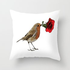 Bird & Rose Throw Pillow