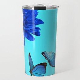 BLUE DAHLIA FLOWER & BLUE BUTTERFLIES ALLURE Travel Mug