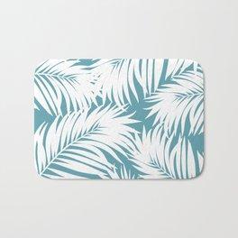 Palm Tree Fronds White on Soft Blue Hawaii Tropical Décor Bath Mat