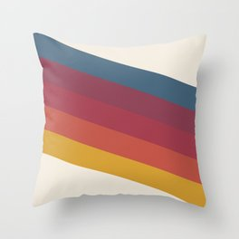 Manat - Colorful Classic Abstract Minimal Retro 70s Style Stripes Design Throw Pillow