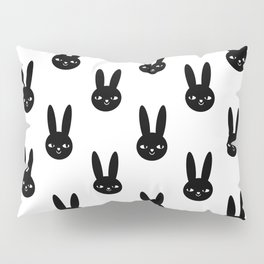 Bunny Rabbit black and white spring cute character illustration nursery kids minimal floral crown Pillow Sham