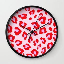 Leopard Print - Red And Pink Wall Clock
