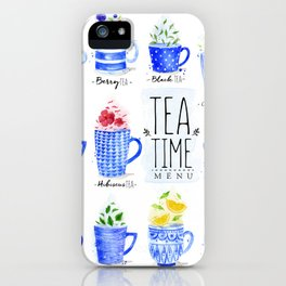 Tea Time Menu iPhone Case