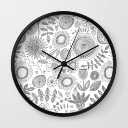 heart fleur mono Wall Clock