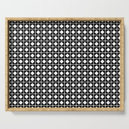 Grid Pattern-Black on White - Mix & Match with Simplicity of life Serving Tray