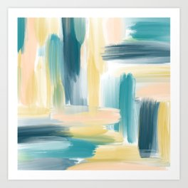 Teal Green, Peach and Yellow Abstract Painting Art Print