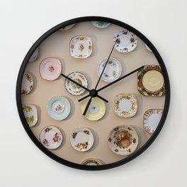 Cottage vintage plates Wall Clock