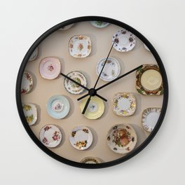 Cottage vintage plates Wall Clock
