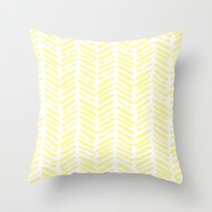 Handpainted Summer Sun Yellow Chevron pattern - Mix & Match with Simplicity of Life Throw Pillow