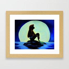 Mermaid in the moonlight Framed Art Print
