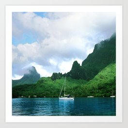 Sailboat in Cook's Bay: Moorea, South Pacific Art Print