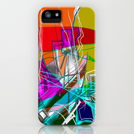 Orange and green abstract iPhone Case