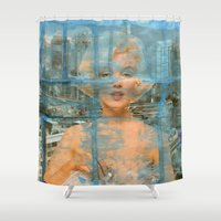monroe Shower Curtains featuring Marilyn Monroe by Ibbanez