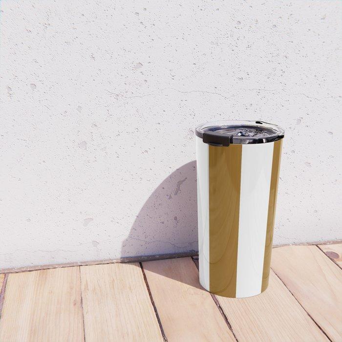 Vertical Stripes - White and Golden Brown Travel Mug