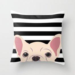 Peeking Frenchie Throw Pillow
