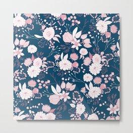 Elegant mauve pink white navy blue rustic floral Metal Print