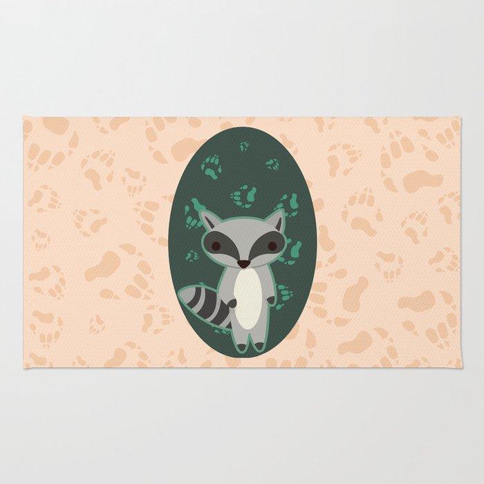 Raccoon with Paw Prints Rug