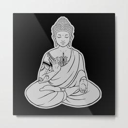 Sitting Buddha is blessing on blissful meditation Metal Print