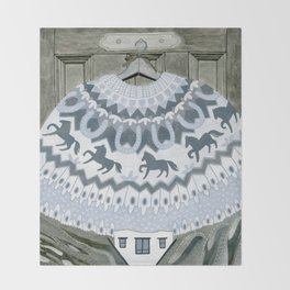 Sweater with Horses Throw Blanket