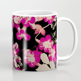 pink flower with silhouette leaves on black Coffee Mug