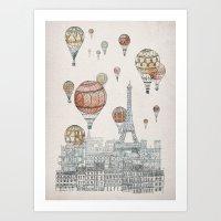 paris Art Prints featuring Voyages Over Paris by David Fleck