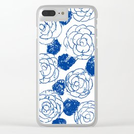 Blue blockprint roses Clear iPhone Case