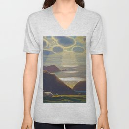 Rays of Sun off the Sea Cliffs Sturrall Donegal, Ireland by Rockwell Kent Unisex V-Neck