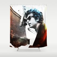 bob dylan Shower Curtains featuring Bob Dylan by Maioriz Home