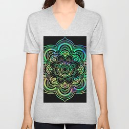 Neon Psychedelic Mandala Unisex V-Neck