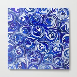 China Blue Paint Swirls Metal Print