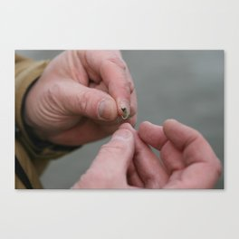 Weathered hands tie on a fly Canvas Print