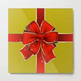 Red Bow on Gold Metal Print