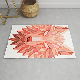 Red Polygonal Geometric Wolf Head Rug