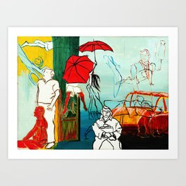 Composition Painting - Umbrella girl with woman Art Print