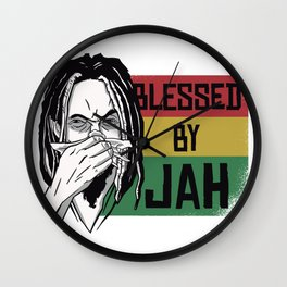Blessed by Jah saying Wall Clock
