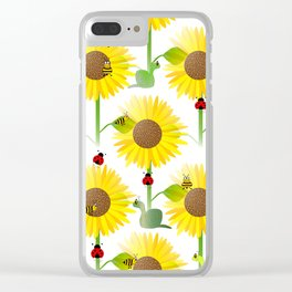 Sunflowers And Bees Clear iPhone Case