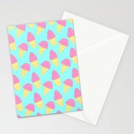 Pink Ice Cream on Blue Stationery Cards