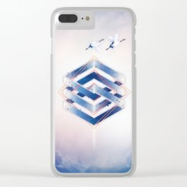 Indigo Hexagon :: Floating Geometry Clear iPhone Case