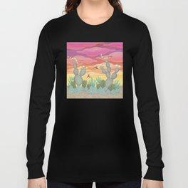 rufous hummingbirds & cactus Long Sleeve T-shirt