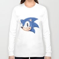 video games Long Sleeve T-shirts featuring Triangles Video Games Heroes - Sonic by s2lart